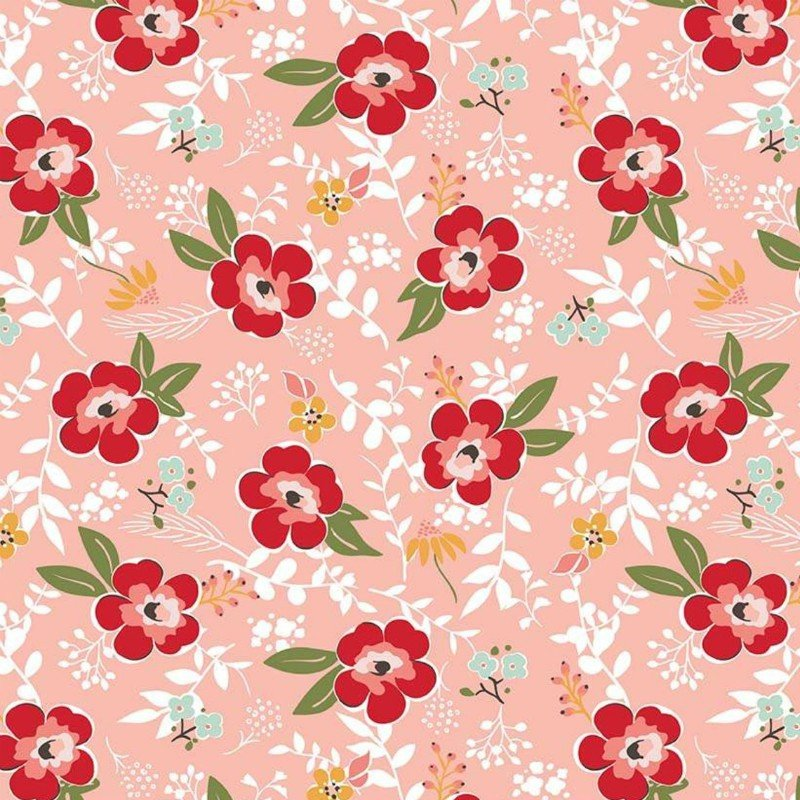 Flannel Prints : Sweet Prairie - Main (Coral)