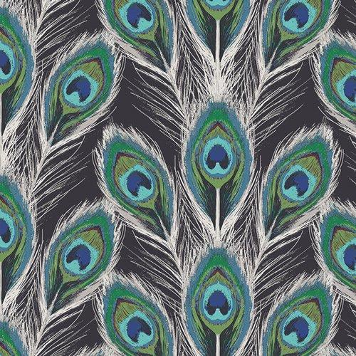 Rayon Prints :  Paon Plumes - Royal