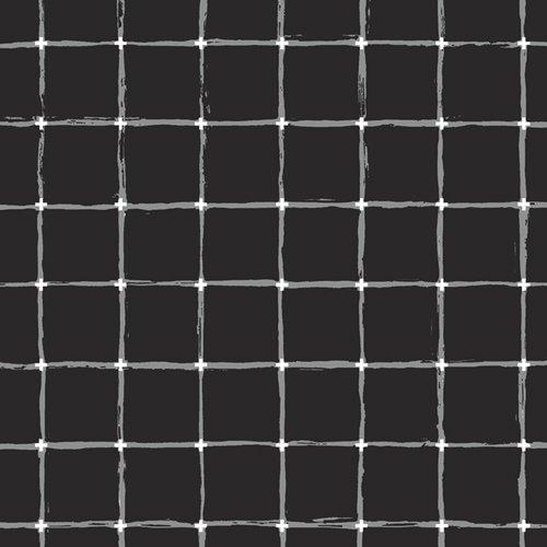 Rayon Prints : Grid Negative (Black)