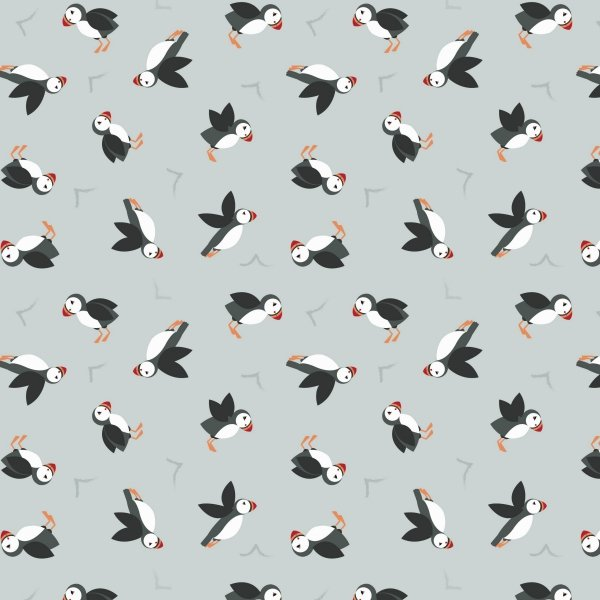 QC : Small Things by the Sea - Puffins (Lt Grey)