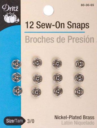 Snaps : Sew-On 12pk - 3/0