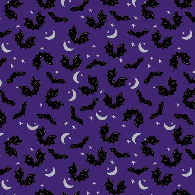 QC Metallic : Spooky Hollow - Bats (Eggplant)