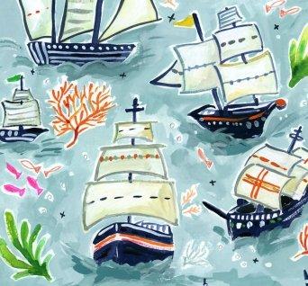 Poplin : High Seas - Sail Ships (Multi)