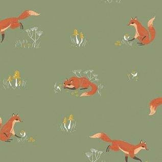 Poplin : Camp Wander - Fox (Aloe)
