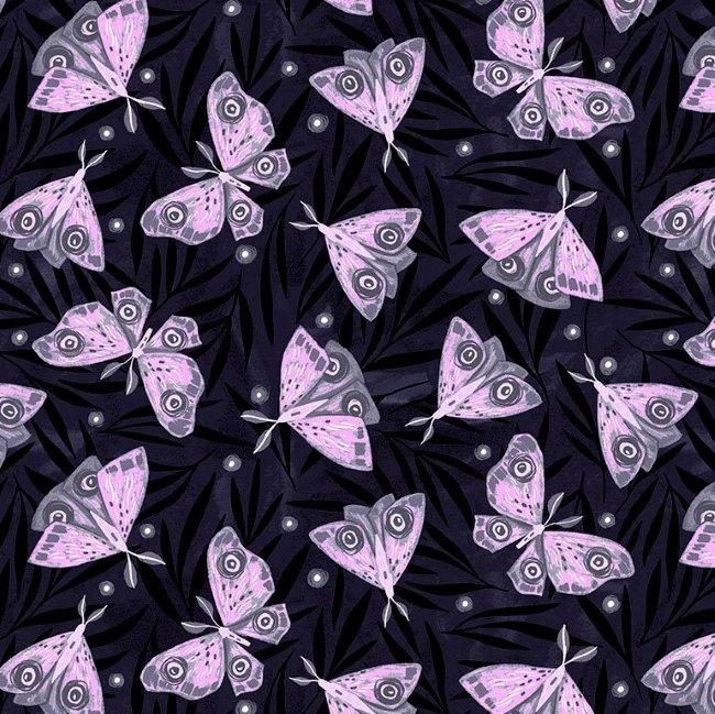 QC : Lantern Light - Moths (Indigo)