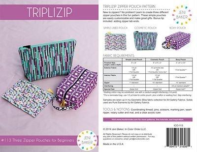 Triplizip Zipper Pouches Bag Pattern
