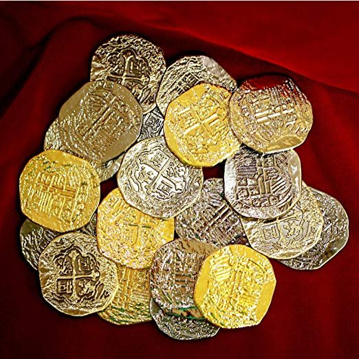 Pirate Coins - Gold Silver Doubloon Replicas (Large) - 000