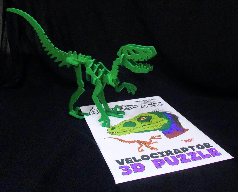 MINIATURE! 3D Dinosaur Puzzle - Velociraptor - Komatex PVC