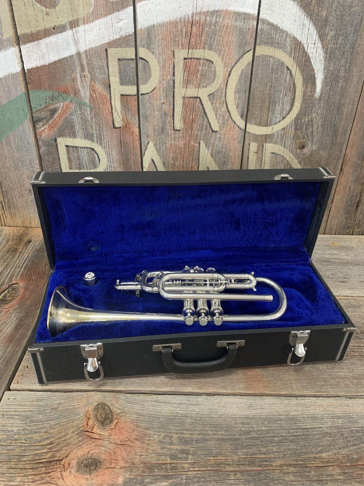 J.W. York & Sons Cornet Perfec-Tone 1918 Silver & Gold