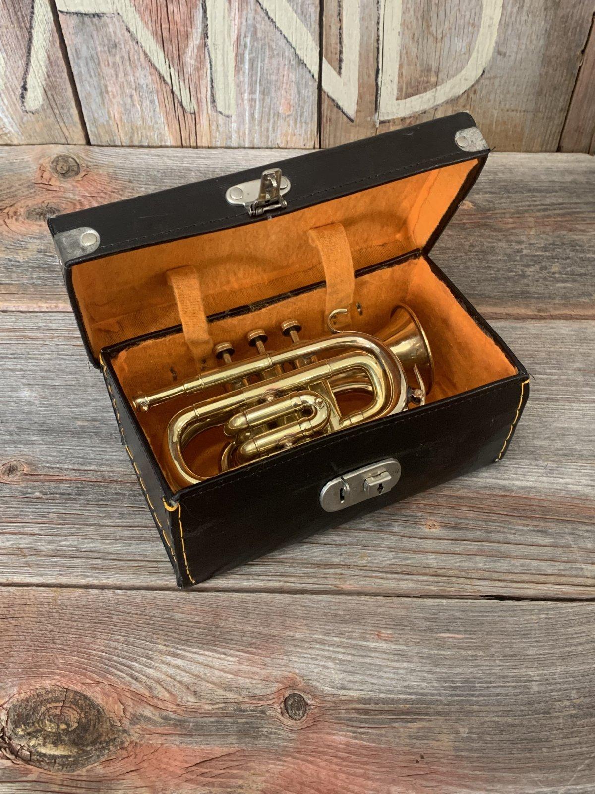 Unmarked Vintage Pocket Trumpet Raw Brass - Used