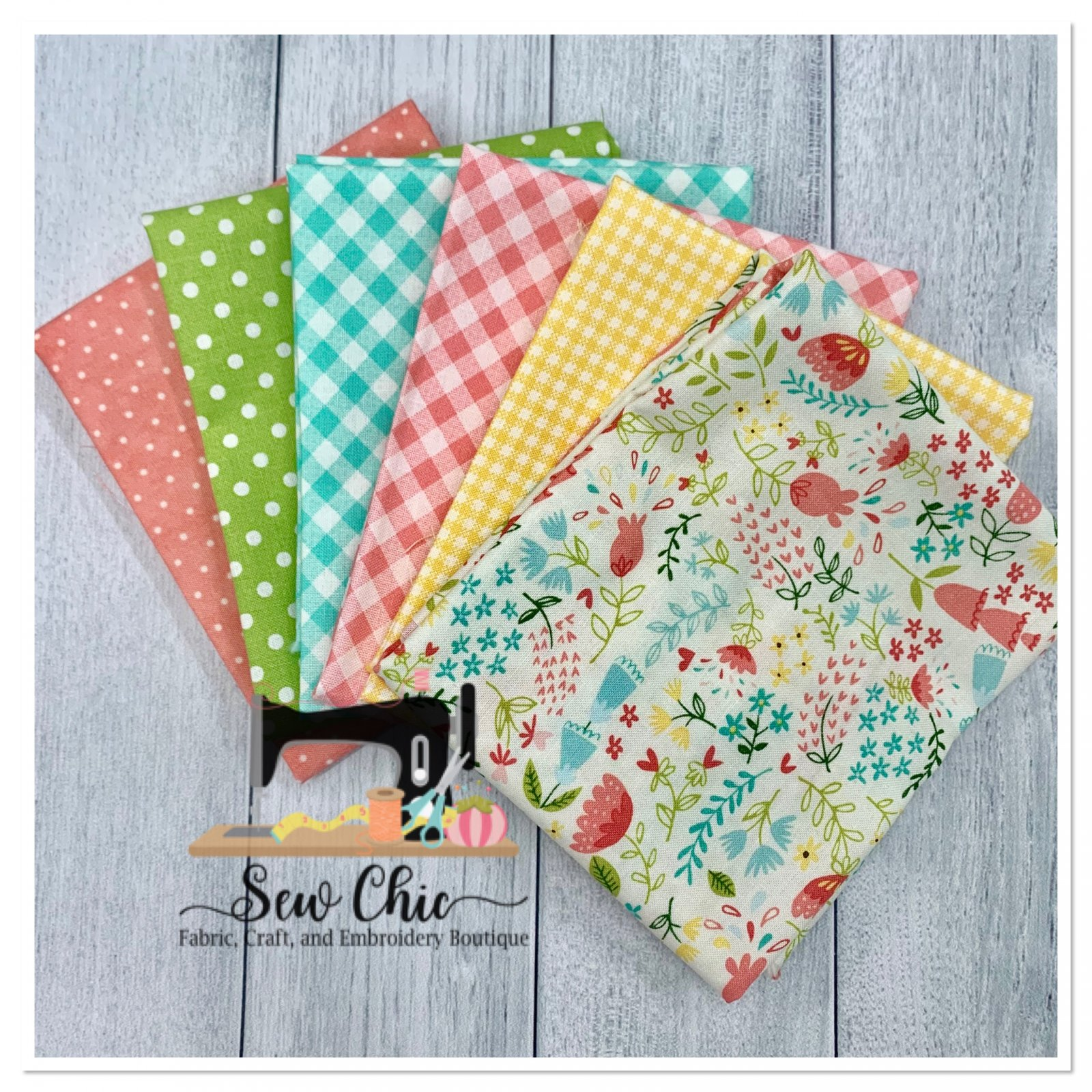 Easter Flowers and Check Fat Quarter Bundle