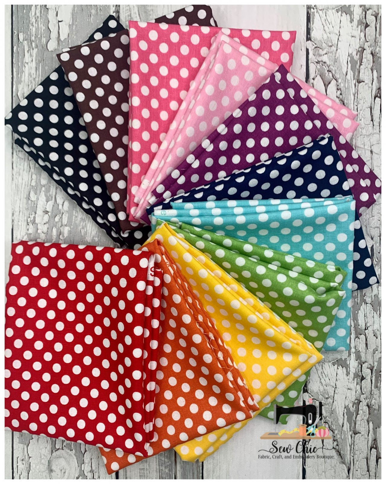Big Riley Blake Dots Fat Quarter Bundle 11 fabrics