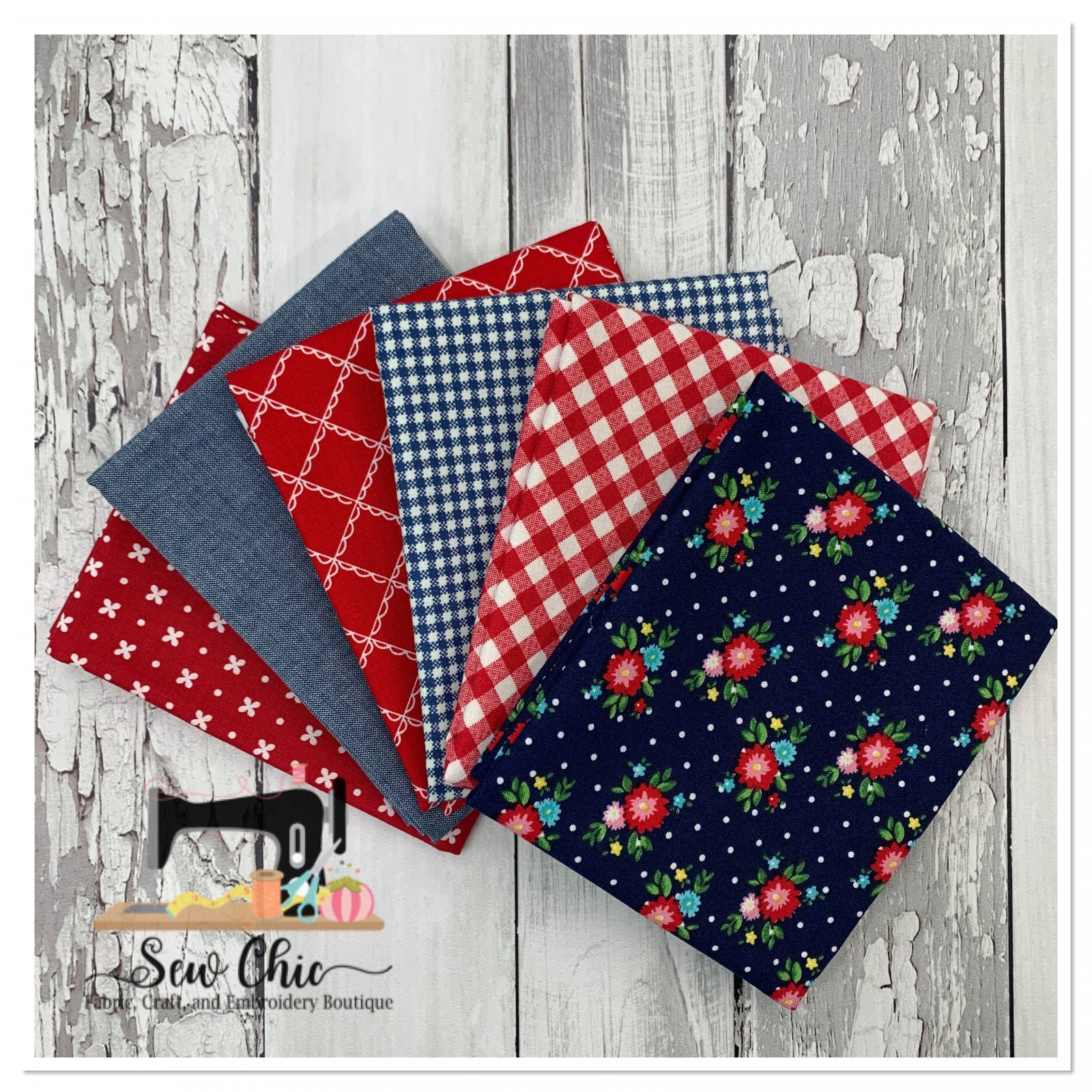 Red White and Blue Picnic Fat Quarter Bundle