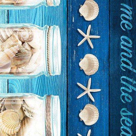 Blue Take me to the beach Border Stripe
