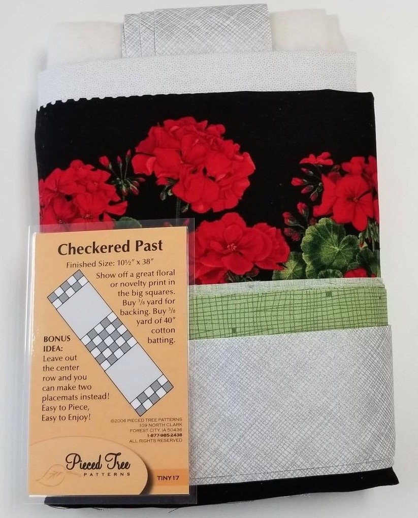 Checked Path-Geranium Kit Table Runner