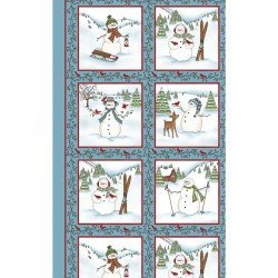 Frolic in the Snow Flannel Panel
