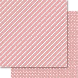 Bella Hearts & Stripes Foiled Cardstock 12X12 Blossom