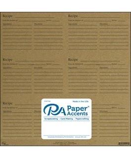 12x12 Recipe Card Sheet - Kraft