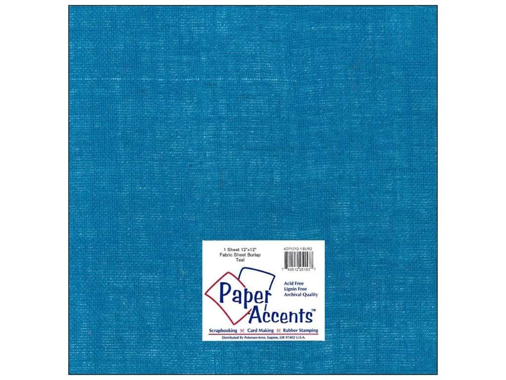 Paper Accents Fabric Burlap Sheet 12x12- Teal
