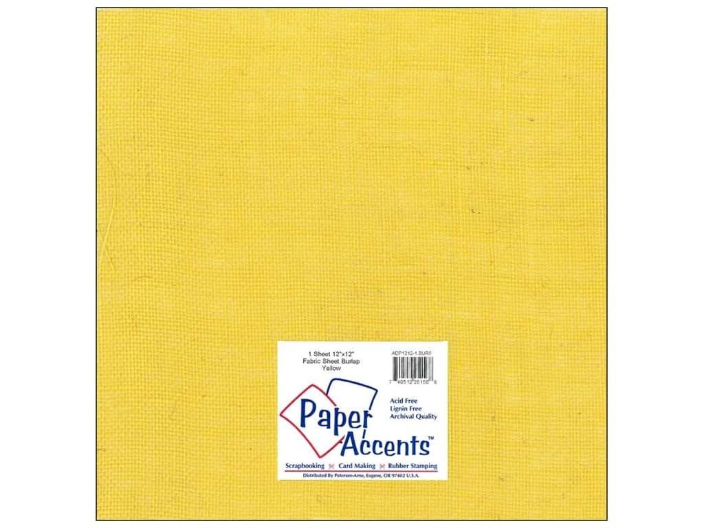 Paper Accents Fabric Burlap Sheet 12x12- Yellow
