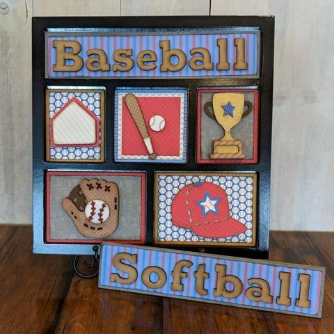 Foundations Decor Shadow Box Kit-Baseball