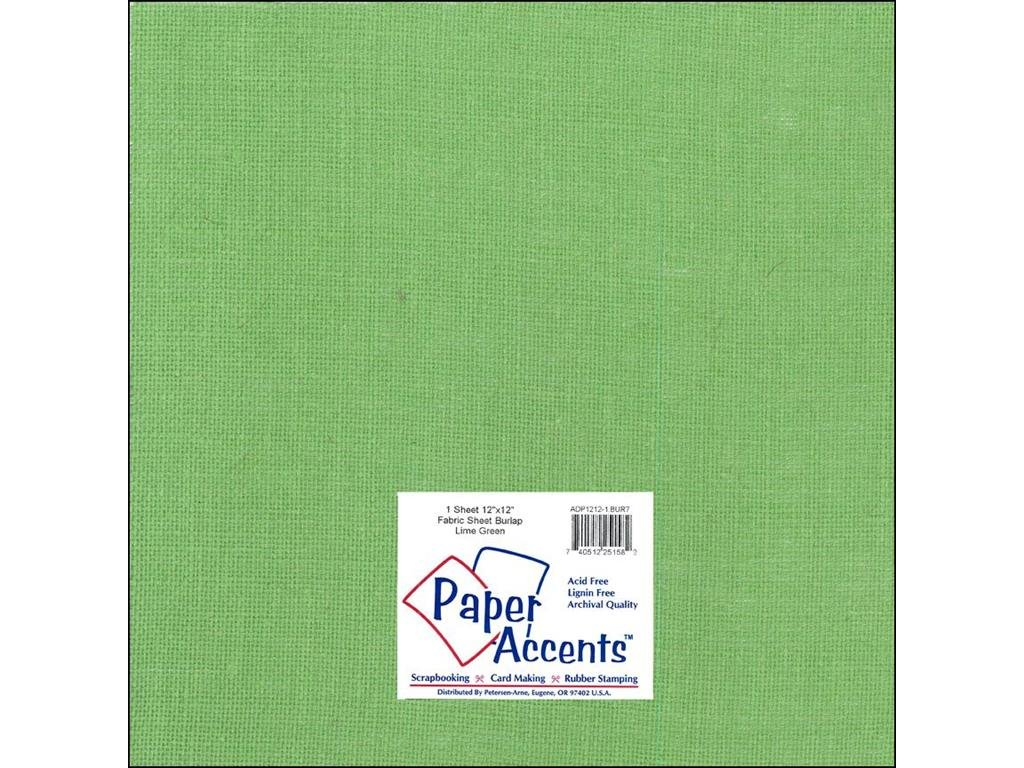 Paper Accents Fabric Burlap Sheet 12x12- Lime Green
