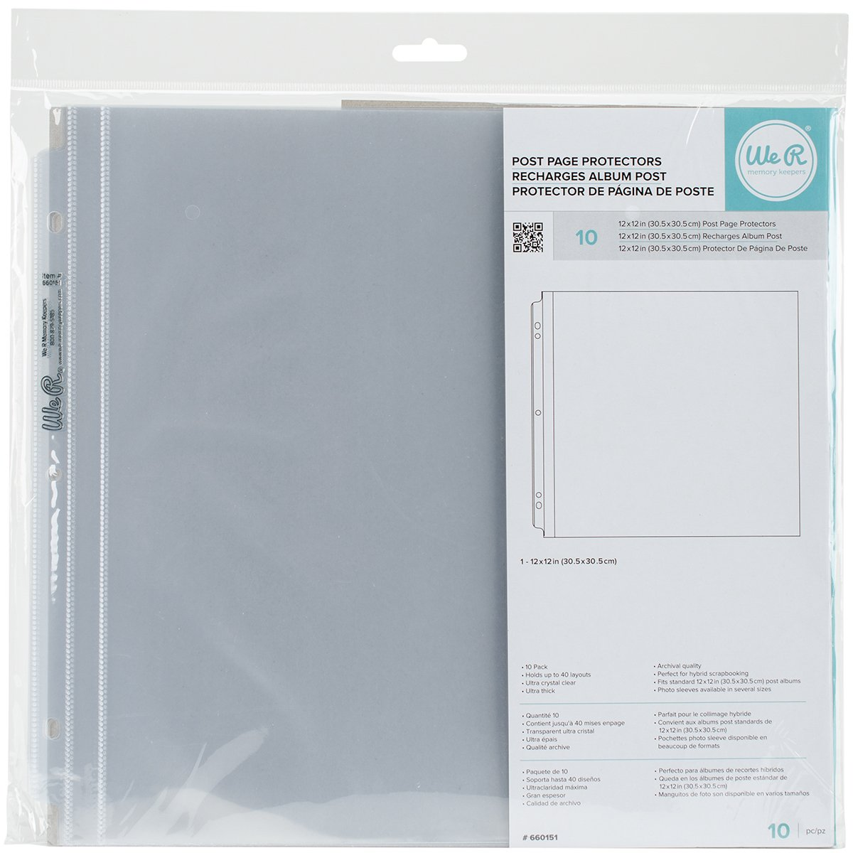 We R Post Bound Photo Sleeves 12X12 10/Pkg-Full Page