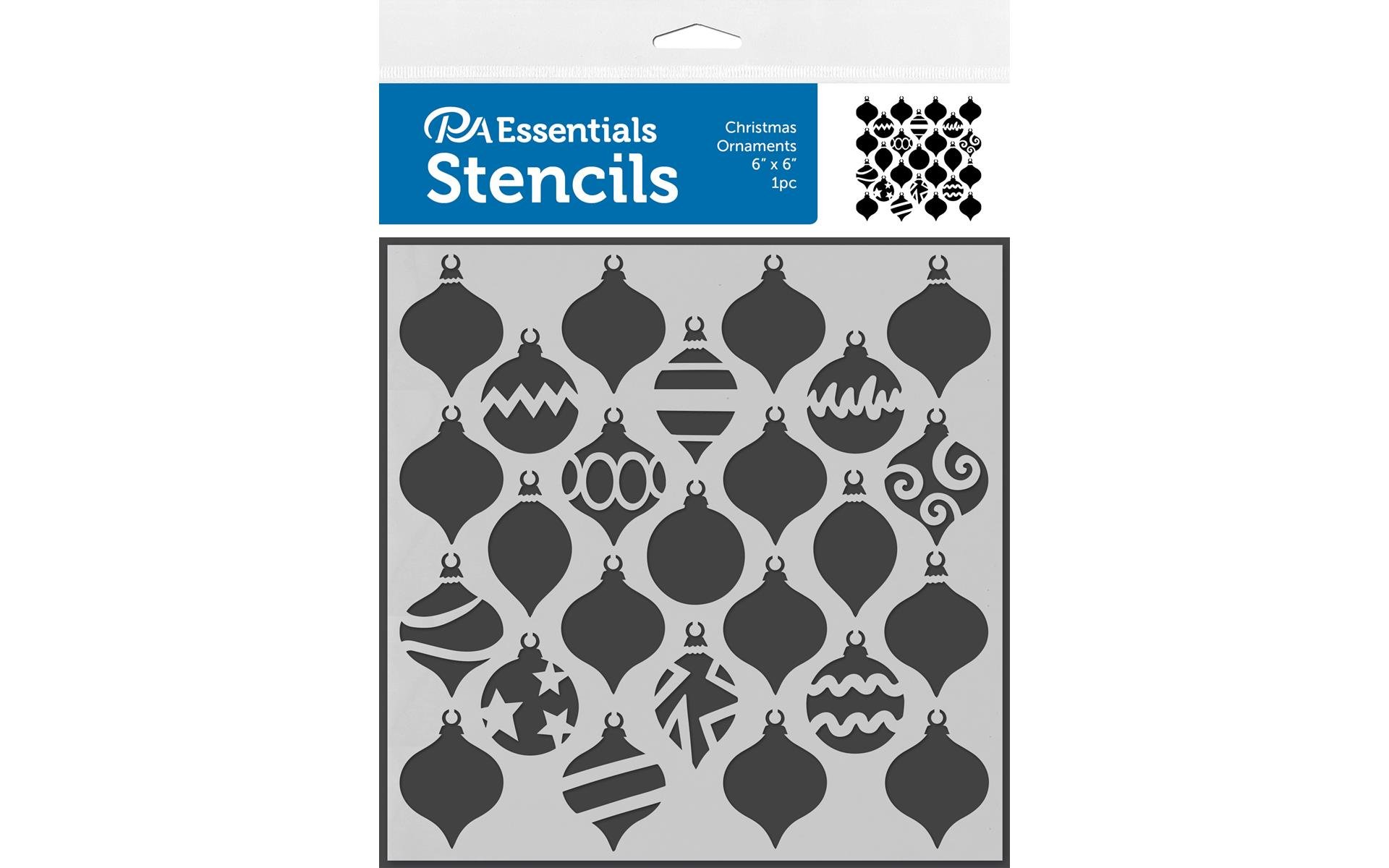 PA Essentials 6x6 Stencil- Christmas Ornaments