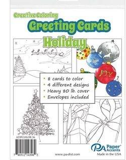 Creative Coloring Holiday Card/Envelope Set 8 pcs.