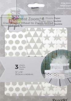 DecoArt Decoupage Paper 12x16- Silver Basics