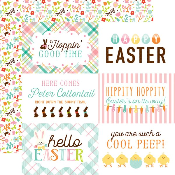 Echo Park Hello Easter 12x12 Double Sided Paper-4x6 Journaling Cards