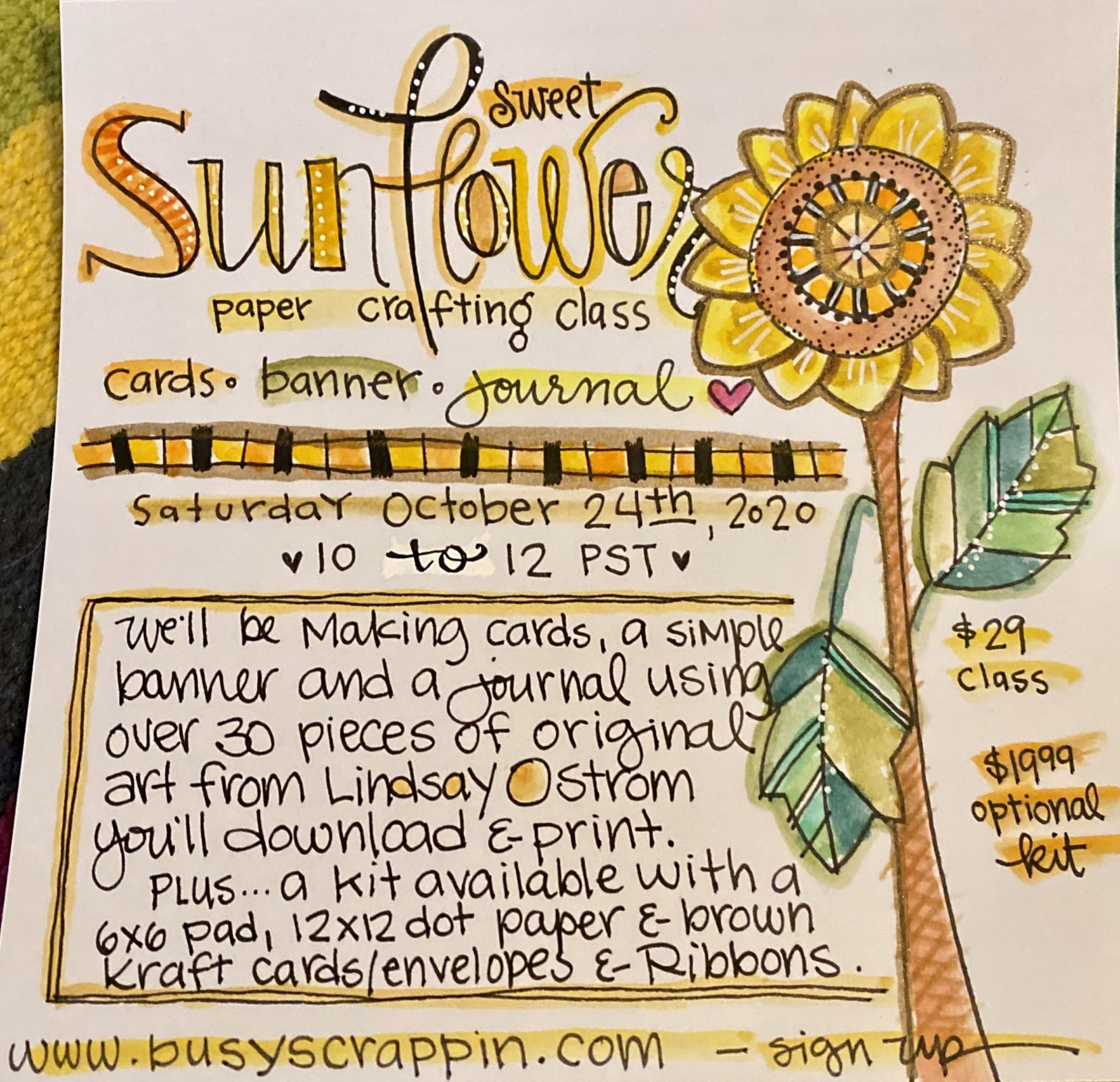 Sweet Sunflowers Class with Lindsay Ostrom