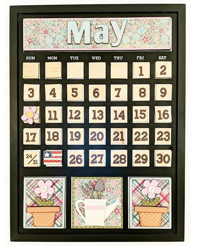 Foundations Decor Magnetic Calendar Kit- May