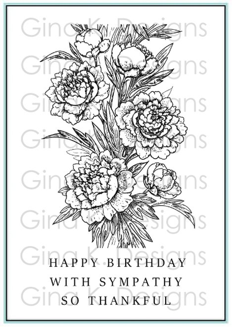 Gina K Clear Stamps- Peony Wishes