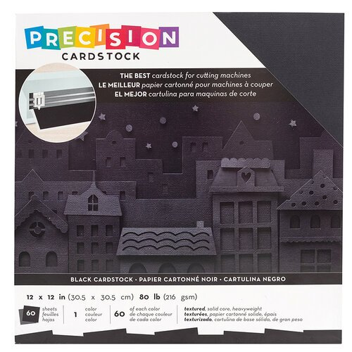 Cardstock - Black, 60/pk - 12x12 Precision Textured (American Crafts)