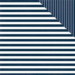 Dots & Stripes - Nautical Navy Stripe - 12x12 Double-Sided Paper (Echo Park)