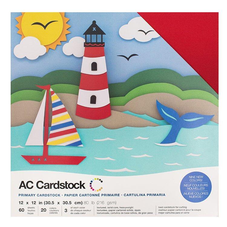 Cardstock - Primaries Assortment, 60/pk - 12x12 Textured (American Crafts)