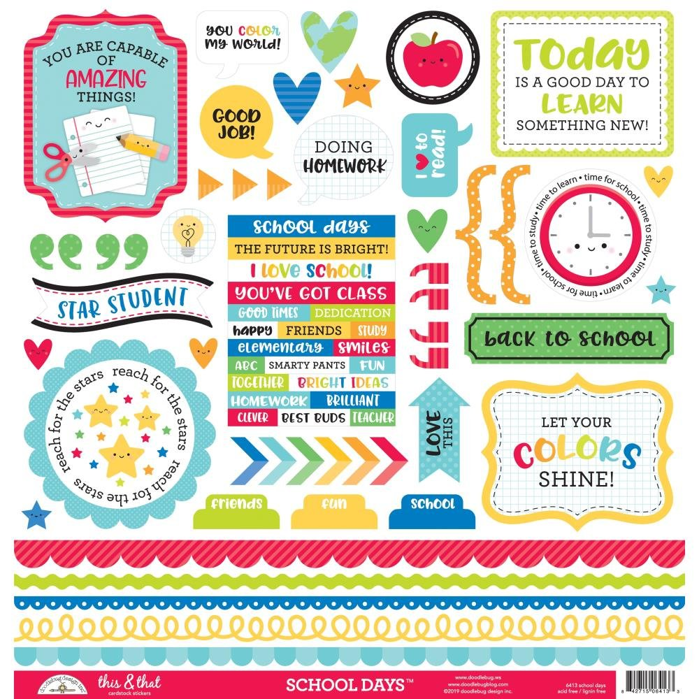 Stickers - School Days, 12 x 12 This and That Sheet  (DB)