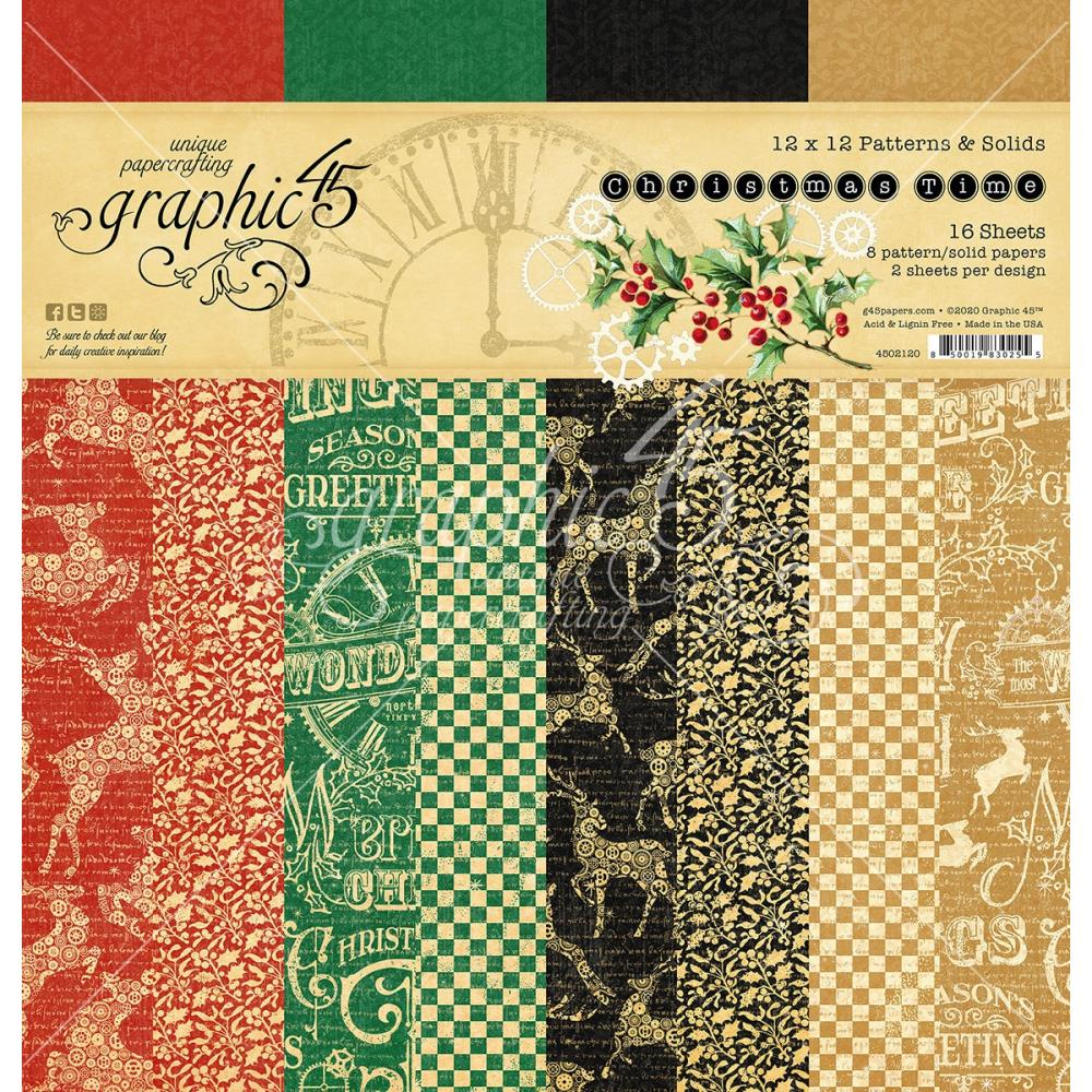 Graphic 45 Christmas Time - 12x12 Patterns & Solids Paper Pad