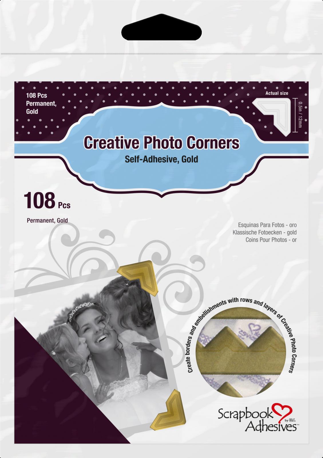 ^Scrapbook Adhesives - Creative Photo Corners Gold 108 Pcs