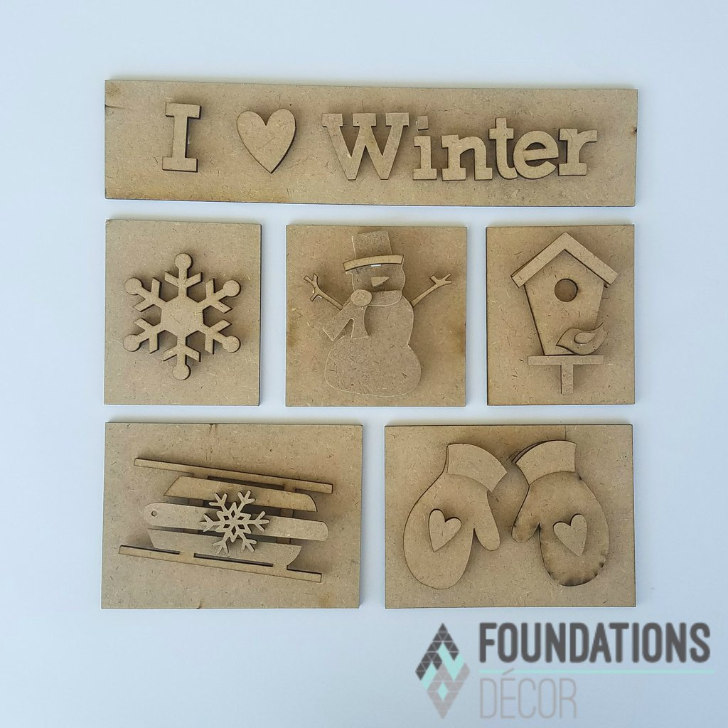Foundations Decor - I Heart Winter Shadow Box Kit - copy