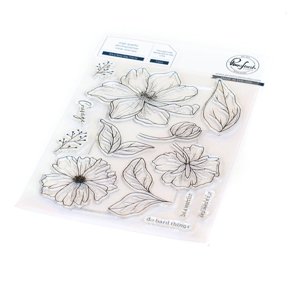 Pinkfresh - It's A New Day Floral - Stamp and Die BUNDLE