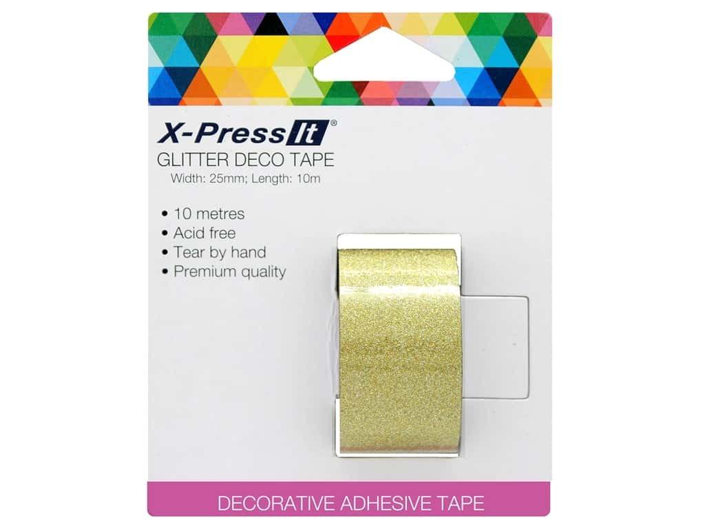 X-Press It - Gold Glitter Deco Tape, 25mm x 10m