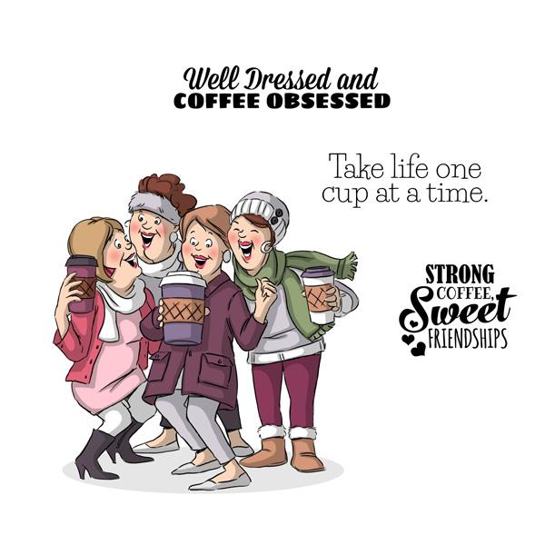 AI -  Girlfriends Rubber Stamps Latte Love Set (4889)