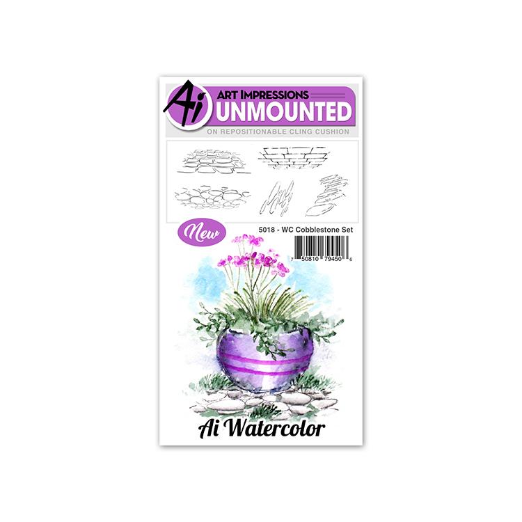 AI -  Watercolor Stamps - Cobblestone Set