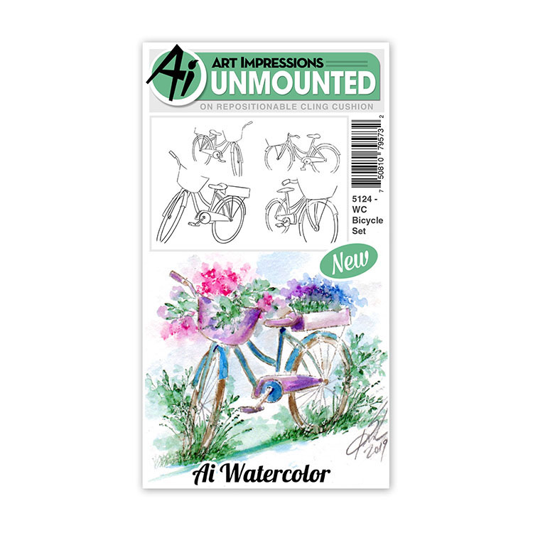 AI -  Watercolor Stamps - Bicycle Set - 5124