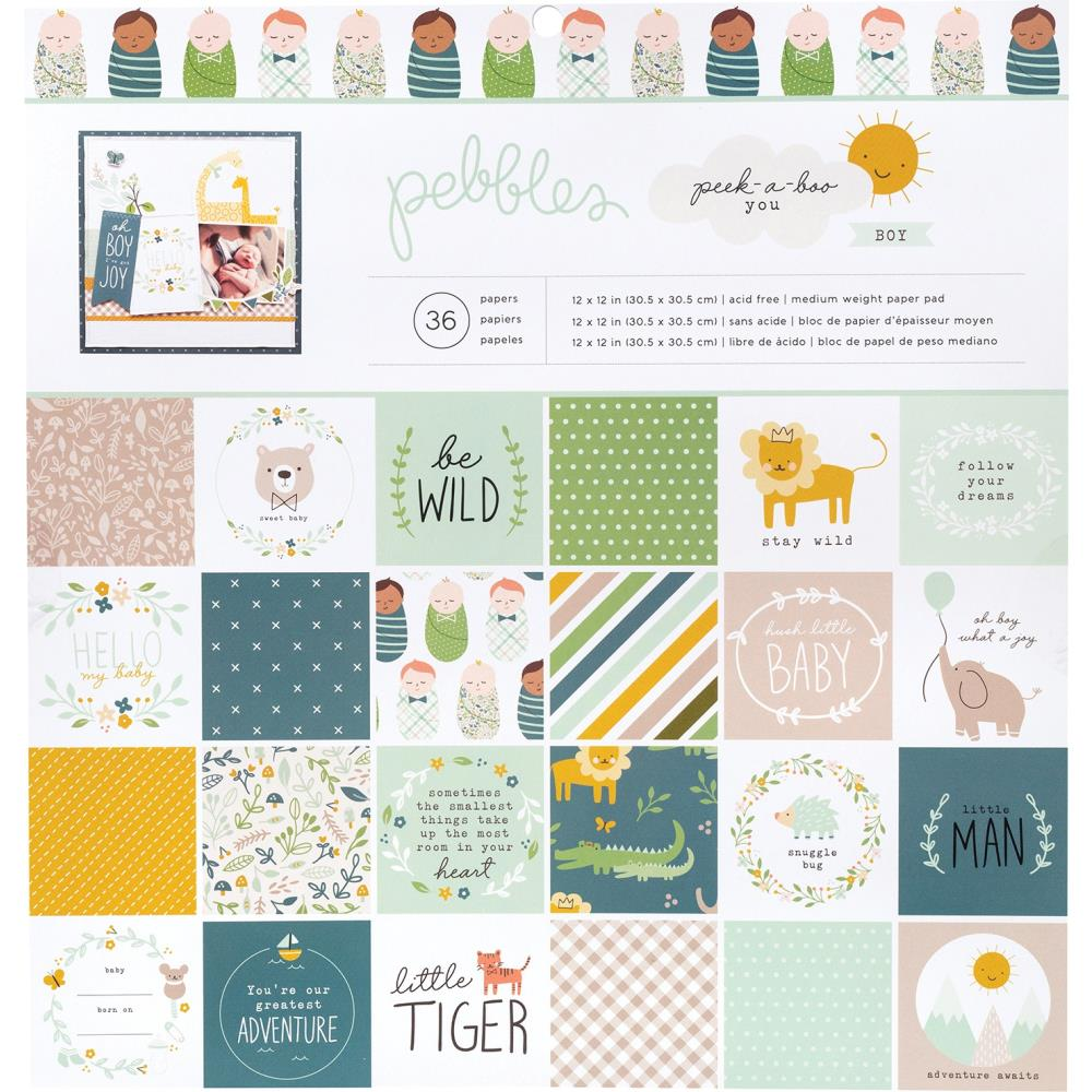 Pebbles Peek-A-Boo You Boy - 12x12 Paper Pad