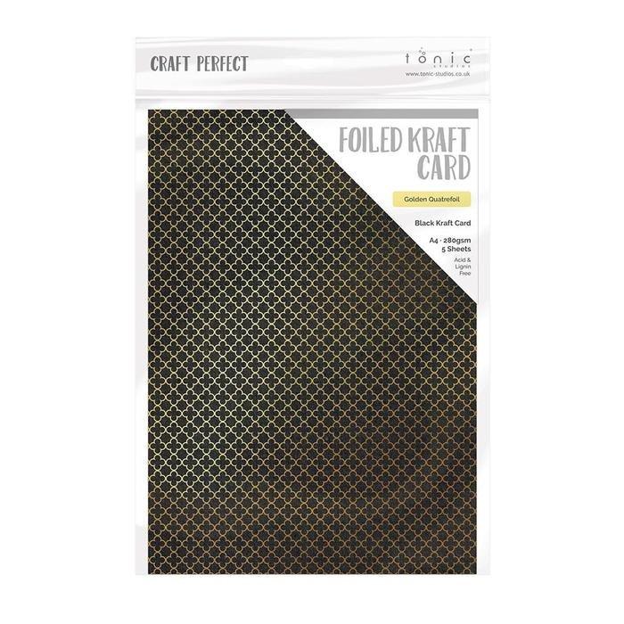 Craft Perfect Foiled Kraft Card - Golden Quarterfoil, A4, 5/pkg