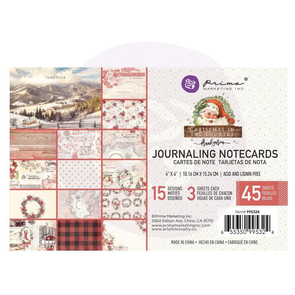Prima - Christmas in the Country - 4x6 Journalling Notecards