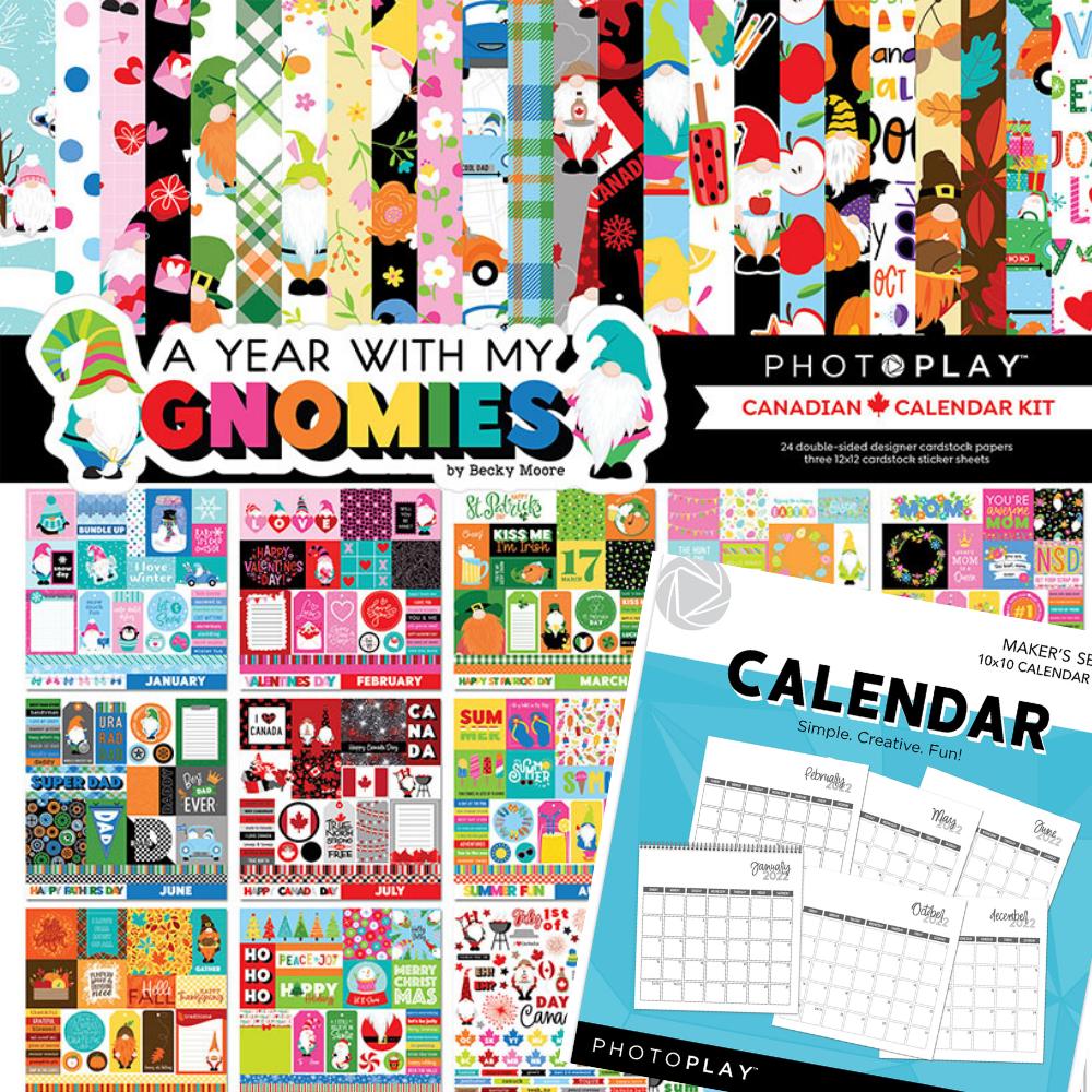 PRESALE Exclusive BUNDLE - PhotoPlay - A Year With My Gnomies Canadian Calendar Kit + 2022 Calendar